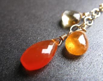 Carnelian Necklace, Mandarin Garnet Necklace, Citrine Necklace, November Birthstone, January Birthstone, Gold-Filled, Orange - Autumn Days
