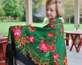 Extra large Russian wool shawl with fringe/Extra thick/Green Floral shawl/Wool shawl/Pavlovo Posad  wool shawl/ Russian shawl/ rusteam