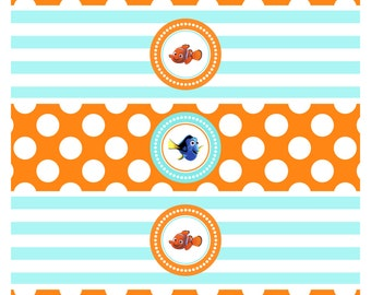 Finding Dory Party - Finding Nemo Party - Water Bottle Labels - Printable Drink Wrappers