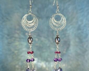 Silver Filigree Iolite, Rubellite, Amethyst & Pearl Earrings SE236