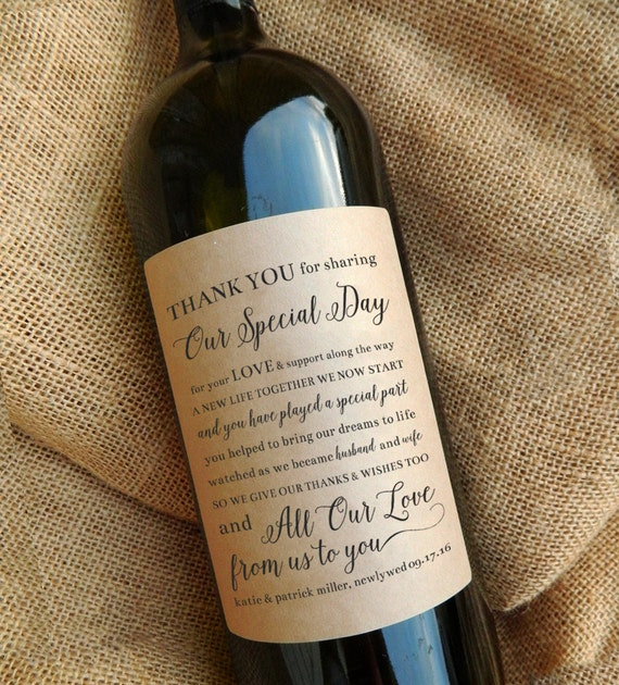 Thank You Wine Bottle Labels Wedding Favor Gift