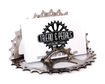 Bike Business Card Holder - Cycling, Gift for Cyclist, Recycled Bicycle Parts, Cycling Gifts, Bicycle Gifts, Tread and Pedals
