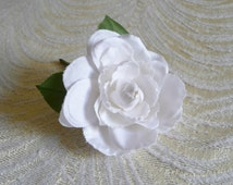 Millinery Gardenia Flower Snow White for Weddings, Boutonnieres, Corsage, Brooch, Camellia Blossom 2FV0027W