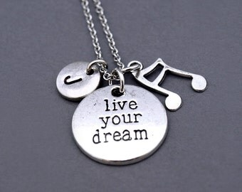 Live your dream, Music Note charm necklace, sixteenth music notes, 16th music note, inspire charm, inspirational charm, monogram