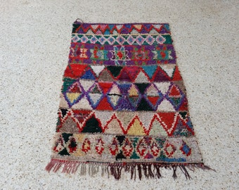 "63""X38"" Vintage Moroccan rug woven using different scraps of used textiles / boucherouite / boucherouette"