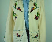 1950s - 60s Mexican Folk Art Embroidered Felt Jacket