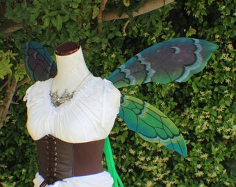 Large green purple teal and black hybrid fairy inspired wings