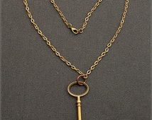Steampunk Key Necklace - huge, bronze, link chain, copper ring, copper, handmade, metal