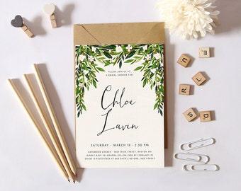 Printable Bridal Shower Invitation,Simple Shower Invitation,Garden Bridal Shower Invite, DIY Greenery Invites, Botanical Theme, Green Leaves