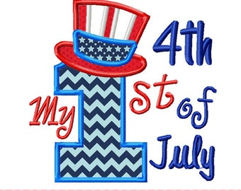 My 1st 4th of July Patriotic Machine Embroidery Design -4x4 5x5 6x6 7x7 inch