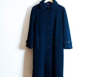 Vintage Cashmere Coat in Navy Blue | Navy Blue Cashmere and Wool Coat | UK 12