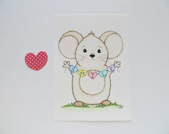Childrens art, kids wall decor, watercolor painting, mouse painting, original painting, Smile art, nursery decor, nursery painting
