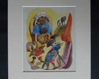 1950s Vintage Helen Haywood Print of a Robin Redbreast, Available Framed, Bird Art, Hibernation Decor, Blackbird Nursery, Chimney Sweep Gift