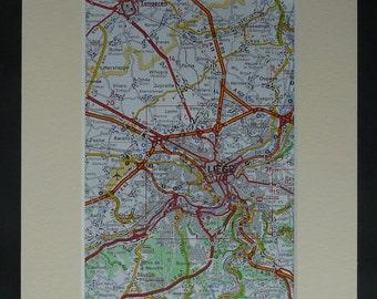 1980s Vintage Belgian Map of Liege, Available Framed, Belgium Art, Wallonia Gift, Tongeren Decor, Juprelle Wall Art, Retro Flemalle Artwork