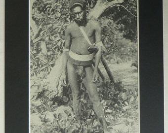 1930s Antique Malakula Print, Big Nambas Wall Art, Old Cannibal Decor, Available Framed, Tribal Art, Vanuatu Tribe Gift, Melanesia Picture