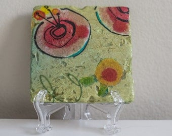Handmade Abstract Spring Stone Decoupage Tile/Coaster