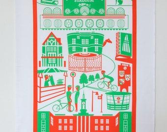 Walthamstow tea towel / London illustration / London tea towel / Walthamstow print