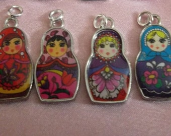 Russian Nesting Doll Charms Babushkas Lot of 4 with Loops