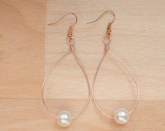 Rose Gold Teardrop Earrings - Statement Jewelry - Wire Hoop Earrings - Wedding Jewelry - Big Hoop Earrings - Bridesmaid Gift