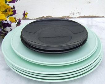 Vintage Mid Century Danish Rosti Mepal 9 Plates Melamine Bjorn Christensen Retro Dinnerware 1960s or 1970s
