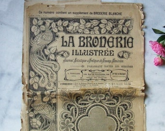 "Vintage French Embroidery Needlework Sewing Magazine ""La Broderie Illustrée"" 1907 Pattern Sheets Cutwork Monograms"