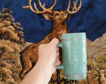 Vintage Turquoise Oktoberfest Beer Stein
