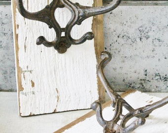 Cast Iron Hook Architectural Salvage Barn Wood Chippy White Paint Reclaimed Rustic French Farmhouse Decor Fixer Upper Decor
