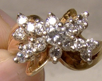 14k Yellow Gold Diamonds Butterfly Cluster Dinner Ring 1960s 14 K Size 7-1/4 Appraisal