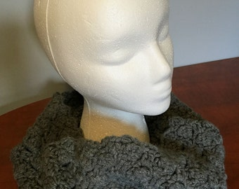 Cowl Textured Crocheted in Dark Grey