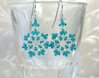 Beaded Snowflake Earrings Small Dangle Earrings Teal Earrings Glass Jewelry Gifts Under 15, Dainty Earrings Handmade Jewelry, Beadwork Woven