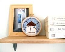 Windmill embroidery art, Greek landscape embroidery, hand embroidery hoop art, architecture embroidery, textile art, wall art, wall hanging
