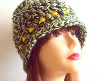 Crochet Flapper Hat 1920's Style Cloche Hat Crochet Beanie Festival Hat  Chunky Hat