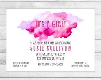 Pink & Magenta Watercolor Baby Shower Invitation, Girl Digital Printable Invite
