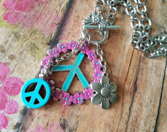 PEACE Toggle Pendant Necklace> Turquoise & Pink/ Peace Sign/ Hippie Jewelry/ Retro/ Flower Child/ Flower Jewelry/ Short Necklace/ Hand-Made