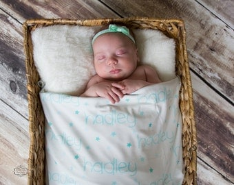 Personalized Swaddle Blanket with Star Print // Stars // Gifts for Baby // Newborn Photo Prop // Best Swaddling Blanket // 100% Custom