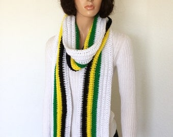 Jamaican Scarf/ Pan African Scarf/ Crochet Scarf/ Fall Fashion/ Winter Fashion/ Gift Idea/ Trending Fashion Scarf
