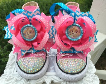 Sky Bow Shoes Paw Patrol Shoes Paw Patrol  Birthday - Sky Party - Sky Costume  Crystals - Sparkle Toes - Pink Converse Infant/Toddler/Youth