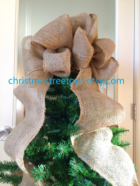 Burlap Bow Christmas Tree Topper Burlap Tree Top Bow Soft
