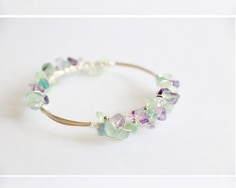 Rainbow Fluorite bracelet wire wrapped bracelet raw crystal bracelet raw quartz bracelet raw crystal cuff gemstone bracelet crystal bangle