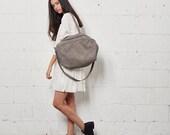 Gray Leather Crossbody Bag Women Messenger Bag, Soft Leather Bag, Soft Leather Tote