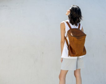 Brown Leather Backpack Travel Bag, Large Backpack, Honey Brown Leather Bag, Hand Made