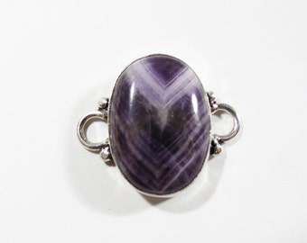 Natural Purple Chevron Amethyst Gemstone, Sterling Silver Jewelry Connector Link Component, 27x23mm, Jewelry Making Supplies, Gemstone Links