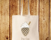 Pine Cone Bag  Winter Forest Holidays Ice Cream Cotton Canvas Tote Bag  Book School Gym Shopper Shoulder Bag  Whimsical Woodland Nature