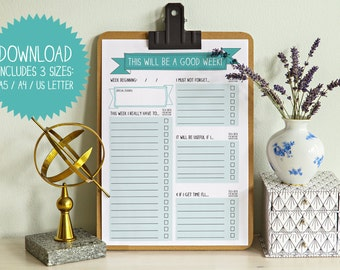 Weekly planner PDF, This will be a good week, print and fill Week Ahead Planner, to do list, printable pdf, digital file