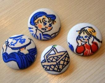 4 Fabric Buttons Emil Michel Lönneberga Sweden DIY handmade craft button decorative button handmade 1 1/8 inches + 7/8 inches