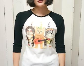 Cat indians womens baseball 3 4 t shirt baseball tee for Lucky cat shirt urban outfitters