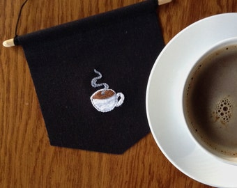 Embroidered Steaming Cup of Coffee Banner
