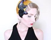 1950s Hat / VINTAGE / Bird Hat / 50s Hat / Juliet / Gold / Iridescent / Black Birds / Designer Hat