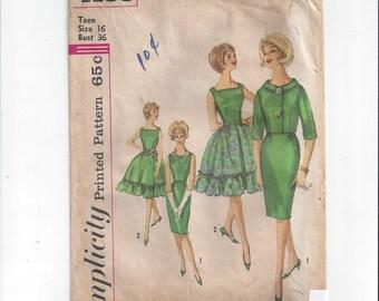 Simplicity 4188 Pattern for Teen 1 Piece Dress, OverSkirt, & Jacket, Early 1950s, Size 16, Vintage Pattern, Ruffle Skirt Detail, Full Skirt