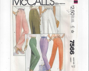 McCall's 7566 Pattern for Misses' Pants in 6 Versions, 1981, Size 22, FACTORY FOLDED & UNCUT, Vintage Pattern, Home Sewing Pattern, Pleats